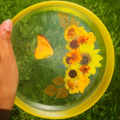 "Image of 7"" Yellow Butterfly Moon Multifunctional Tray"