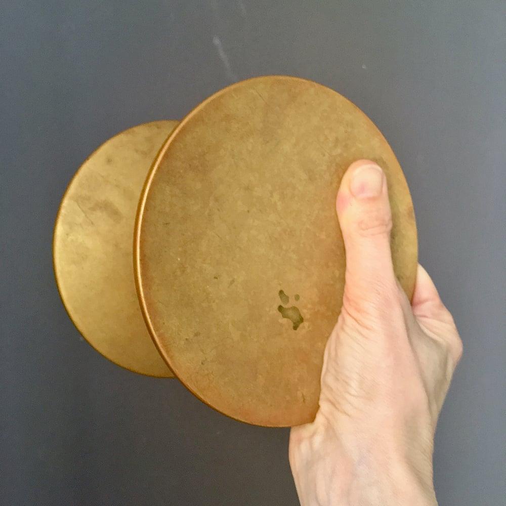 "Image of 6"" Circular Push-Pull Door Handles in Bronze, French"