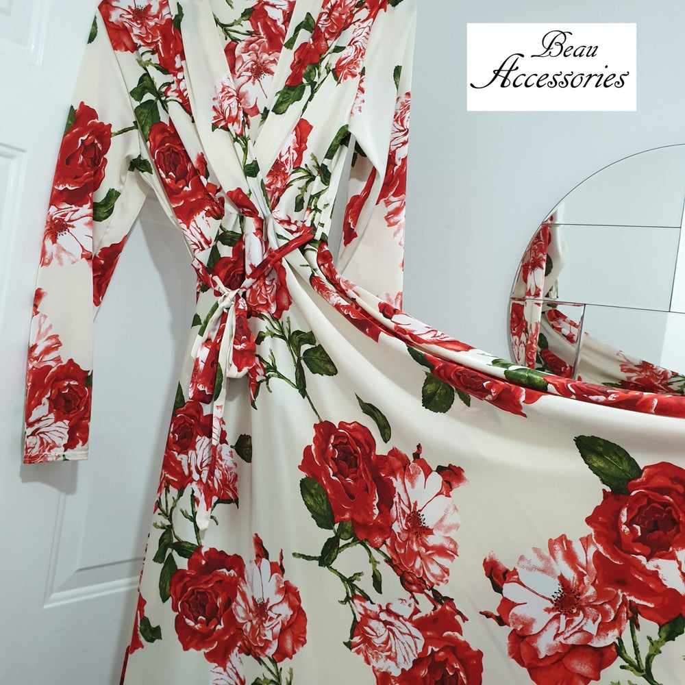 Image of Red Flower Satin Dress