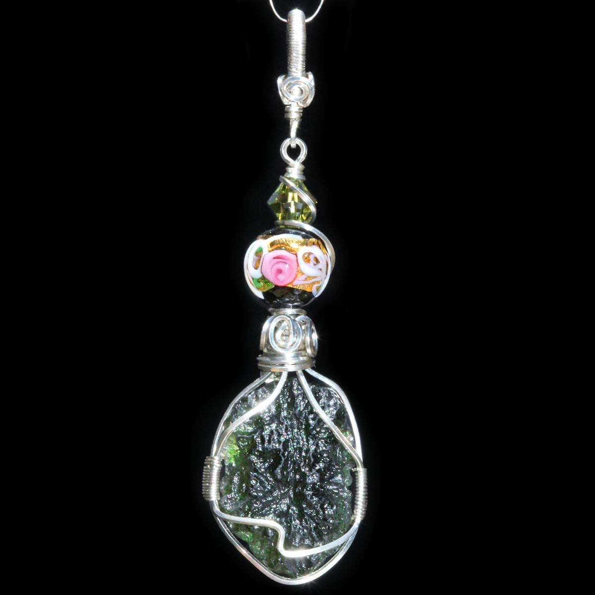 Moldavite Handmade Sterling Pendant with Venetian Glass Wedding Cake Bead