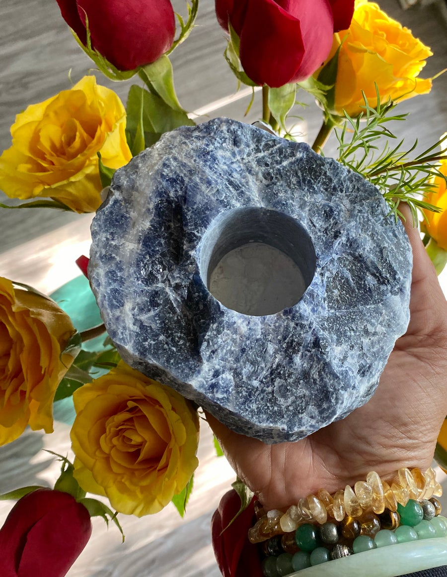 Image of Rough Sodalite Candle Holder | Clarity | Intuition | Truth