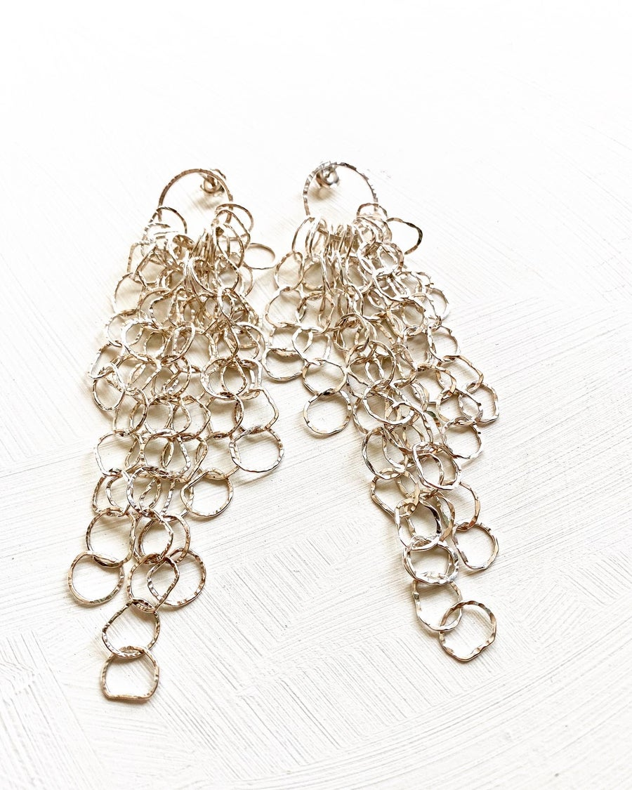 Image of Afiok large cascade earrings- sterling silver
