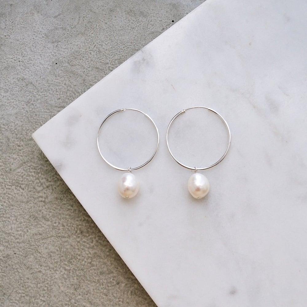 Image of Large Hoop Pearl Earrings