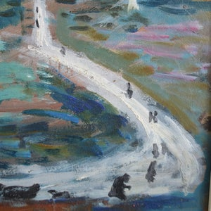 Image of French Oil Painting, 'To the Lighthouse' Akos Biro (1911-2002)