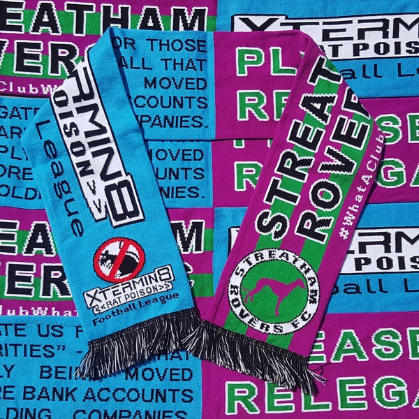 Image of Streatham Rovers FC / Xtermin8 Rat Poison Football League half & half scarf