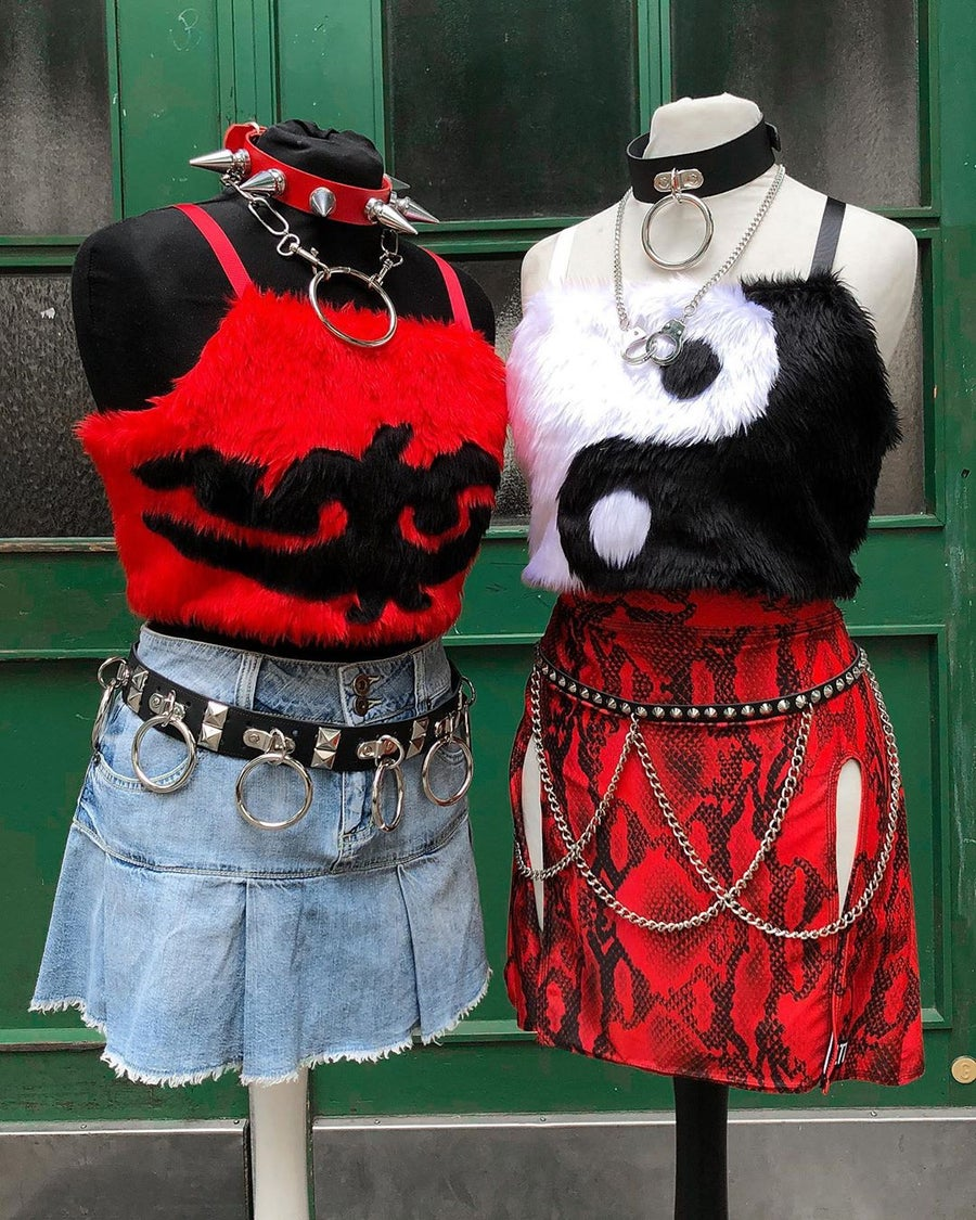 Image of Red TRIBAL fur top