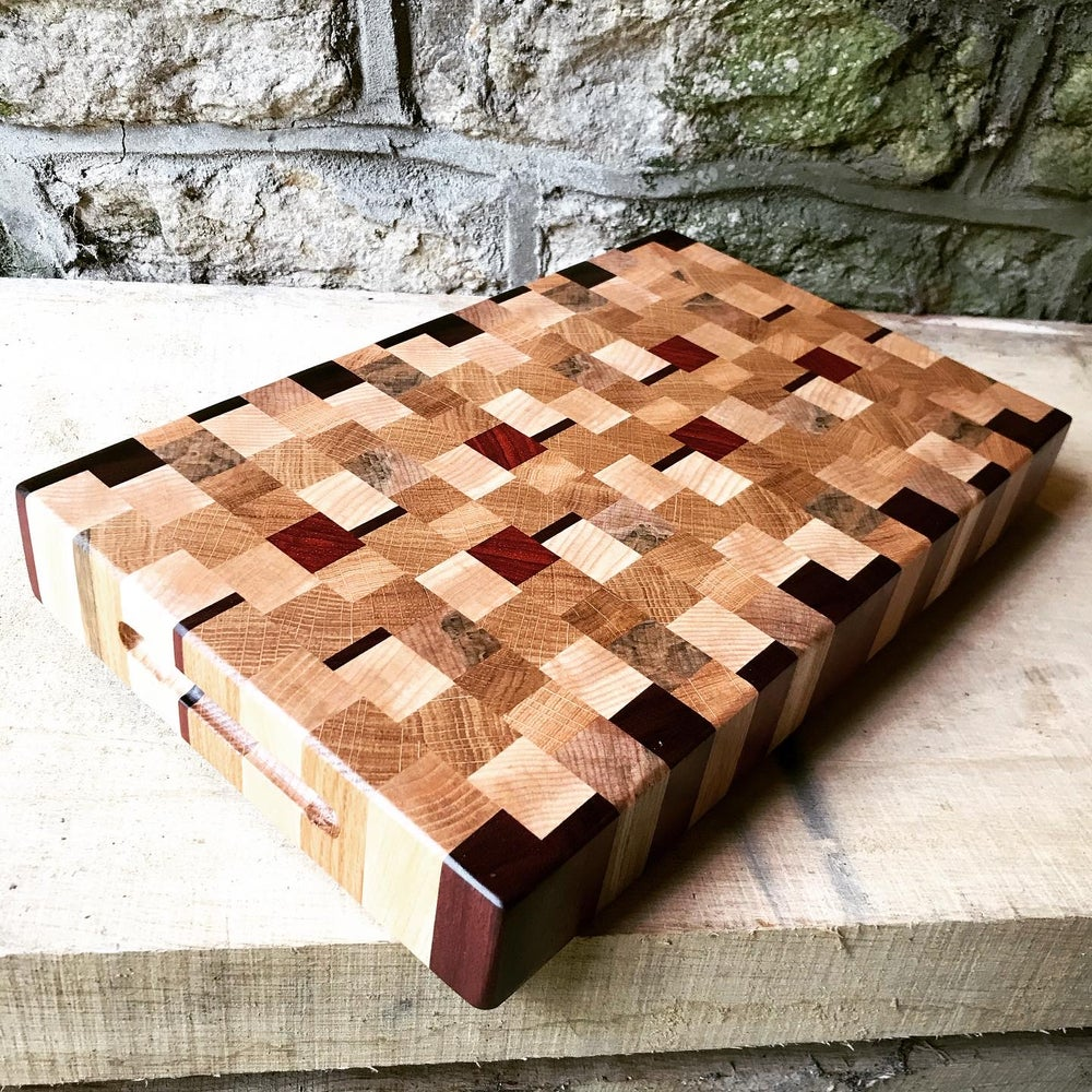 Image of Purple Heart, Padauk, Maple, Ash & Oak End Grain Chopping Board