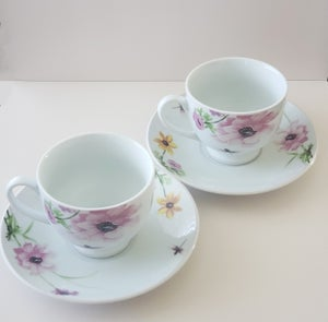 Image of Floral and Dragonfly Painted Teacup and Saucer Set - 6oz