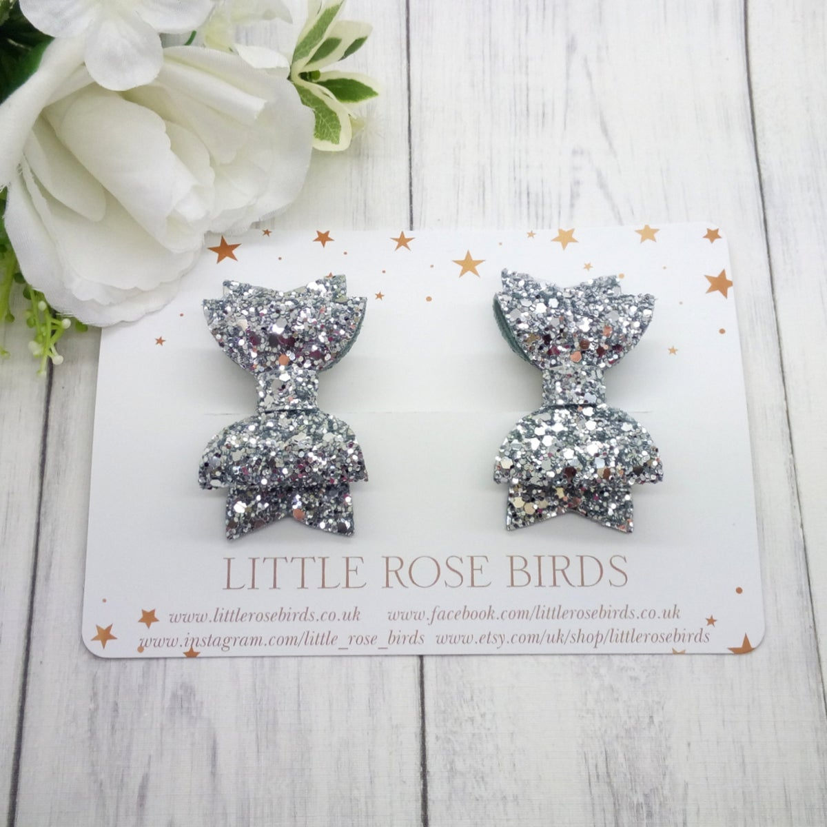 Image of Silver Glitter Pigtail Bows