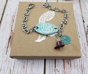 Image of Handmade- Mermaid- Sea Glass- Amethyst- Bracelet- #381