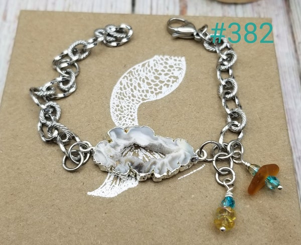 Image of Drusy- Sea Glass- Crystals- Bracelet- #382