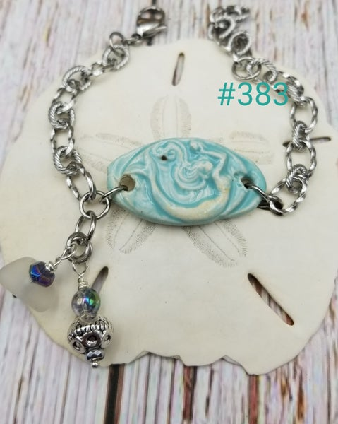 Image of Handmade- Mermaid- Sea Glass- Balu Bead- Bracelet- #383