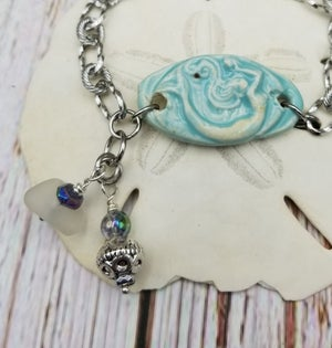 Image of Handmade- Mermaid- Sea Glass- Balu Bead- Bracelet- #383