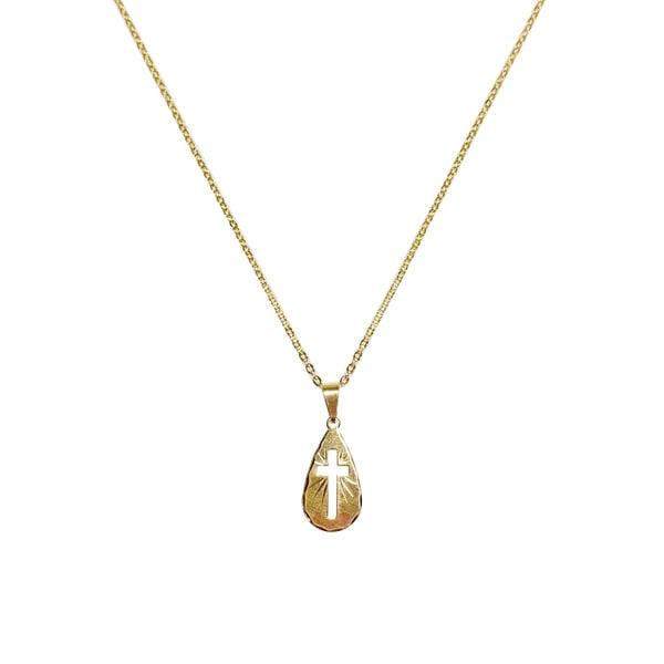 Image of Water Drop Cross Necklace