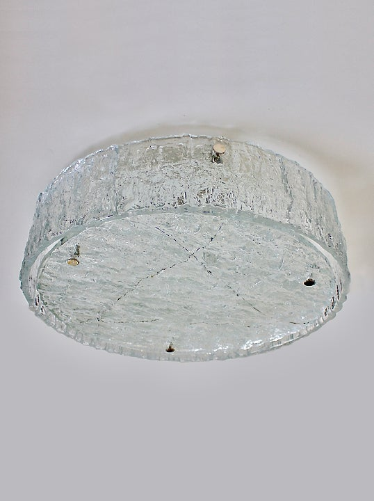 """Image of 19"""" Drum-Shaped Glass Flush Mount by Kaiser"""