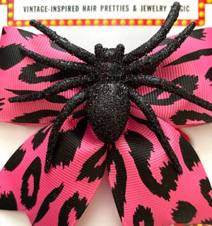Image of Psycho Sparkly Spider Leopard Hair Bow - Pink