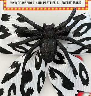 Image of Psycho Sparkly Spider Leopard Hair Bow - White