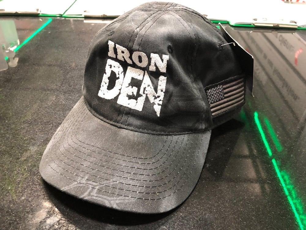 Iron Den Hat- Camo/Flag