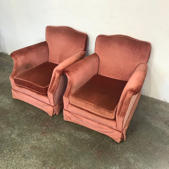 Image of PAIR OF VELOUR ARMCHAIRS