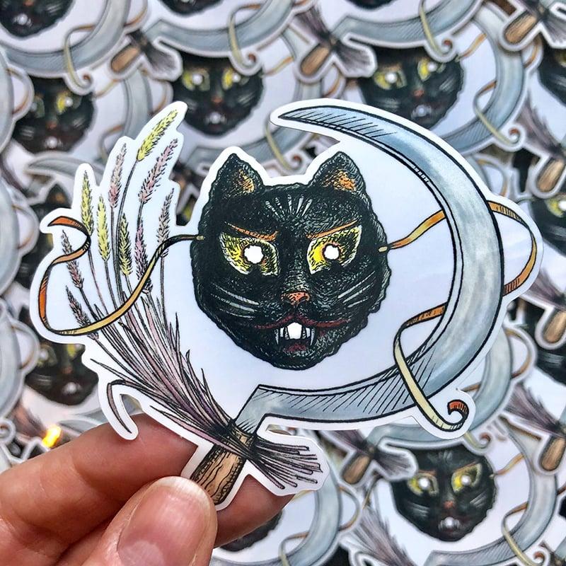 Image of Black Cat Mask Sticker