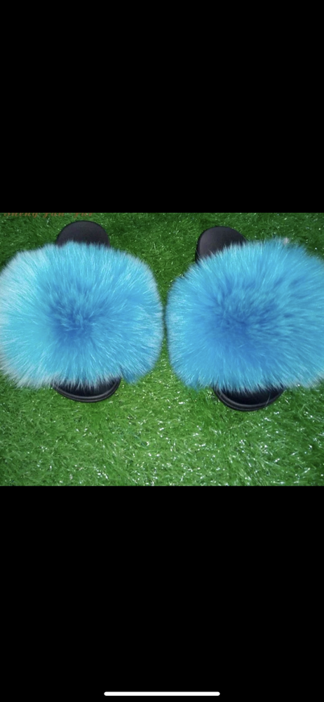 Image of CeCe's Fur Slippers Blue