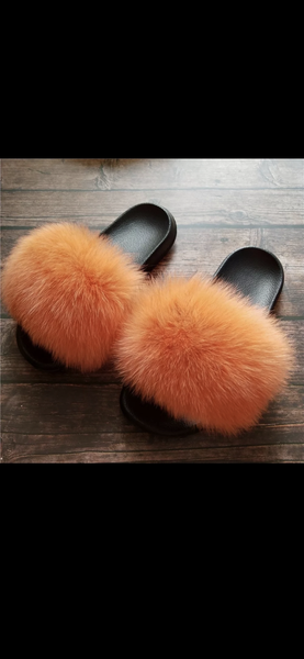 Image of Cece's Fur Slippers Peach