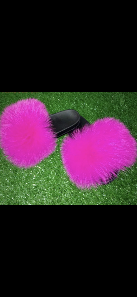 Image of CeCe's Fur Slippers Hot Pink