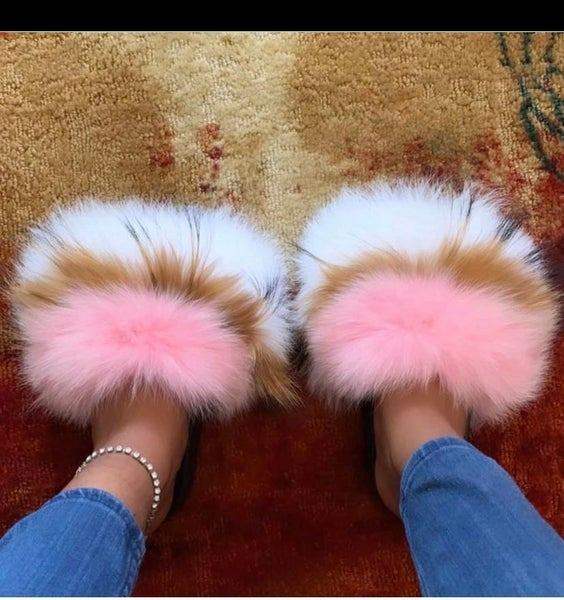 Image of CeCe's Fur Slippers Foxy Pink