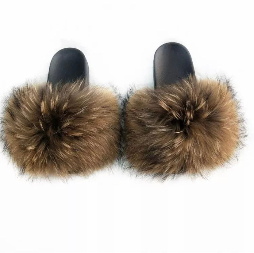Image of Cece's Fur Slippers Foxy Brown