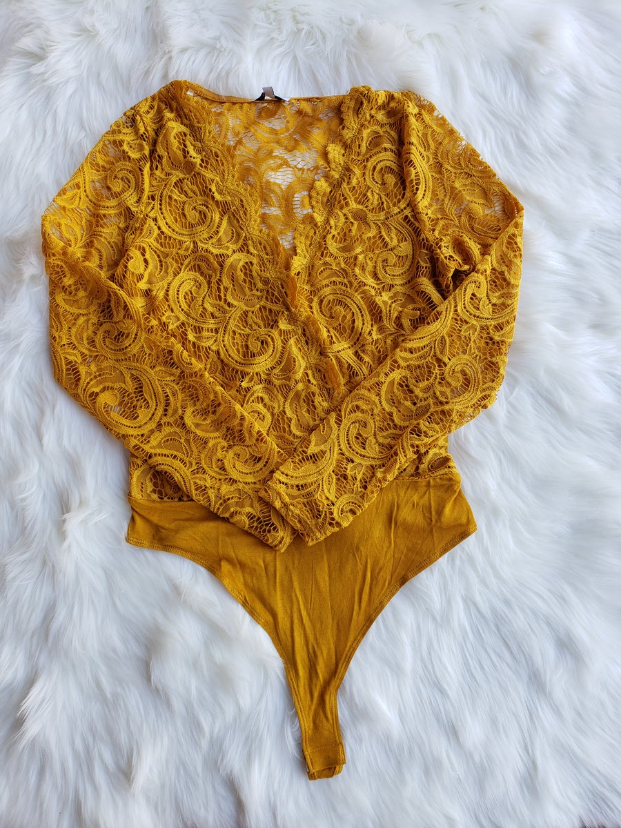 Image of Daize Lace Bodysuit (mustard)