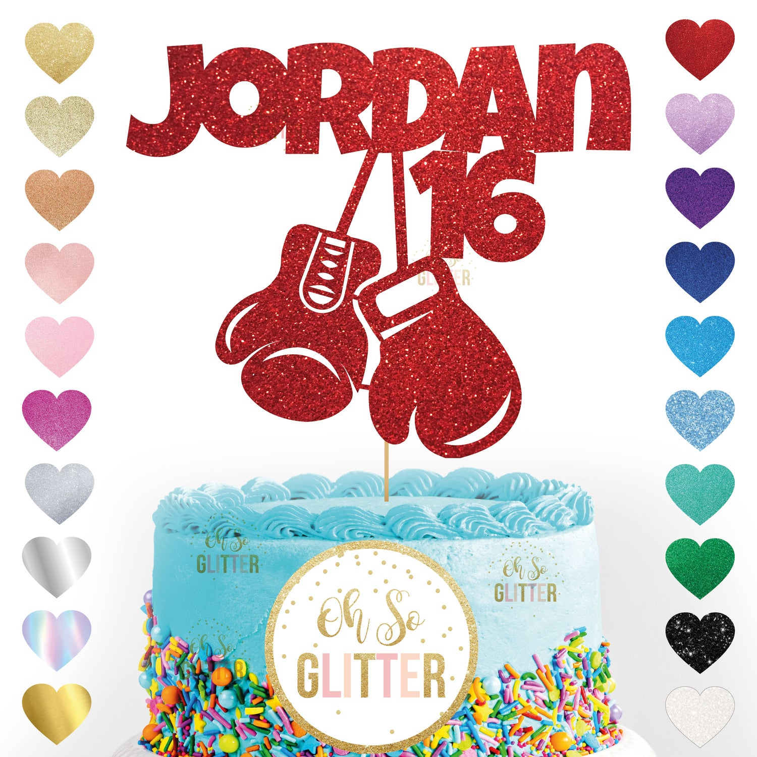 Image of Boxing gloves cake topper