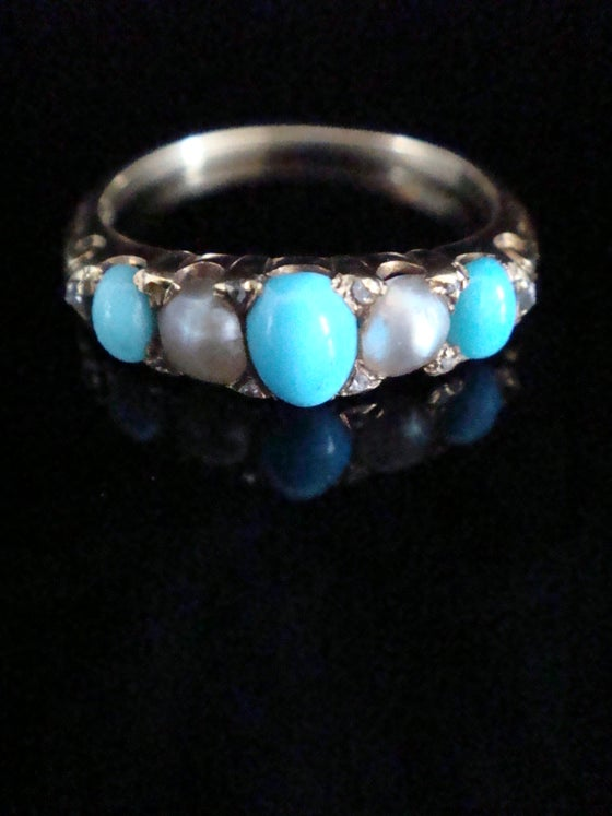Image of Edwardian 18ct yellow gold natural turquoise, pearl and diamond band