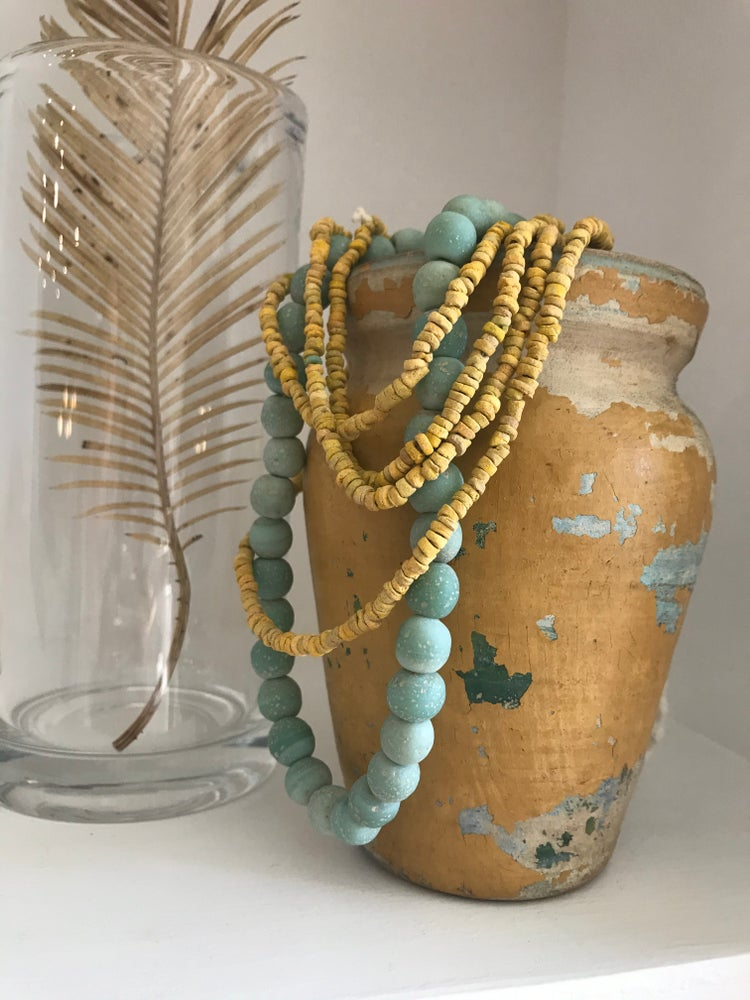 Image of Small Old Painted Pottery - Mustard Tan Blue