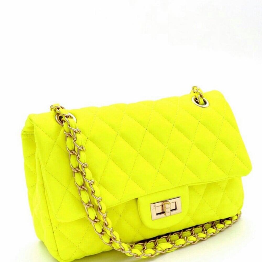 Image of Neon Quilted Shoulder Handbags