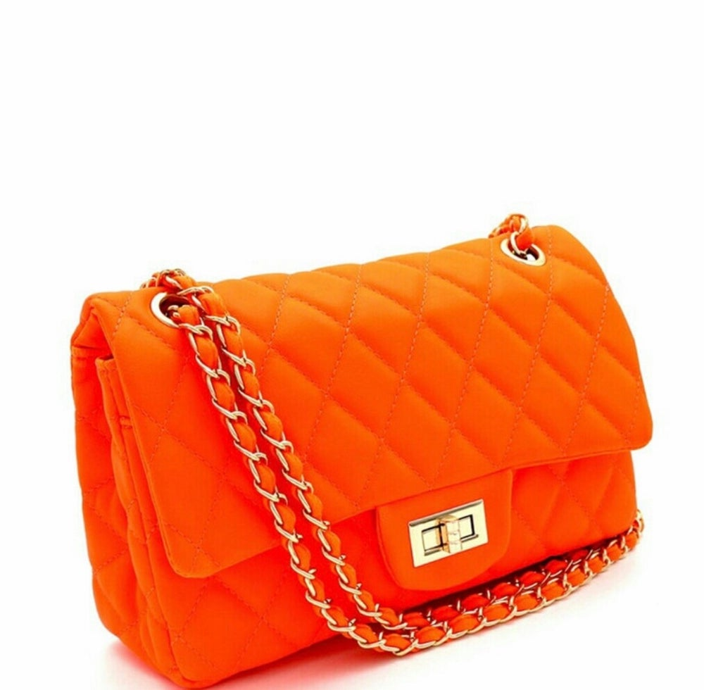 Image of Neon Quilted Shoulder Handbags
