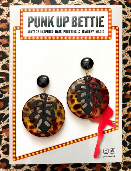 Image of Miss Monstera Deliciosa Earrings - Leopard/Licorice