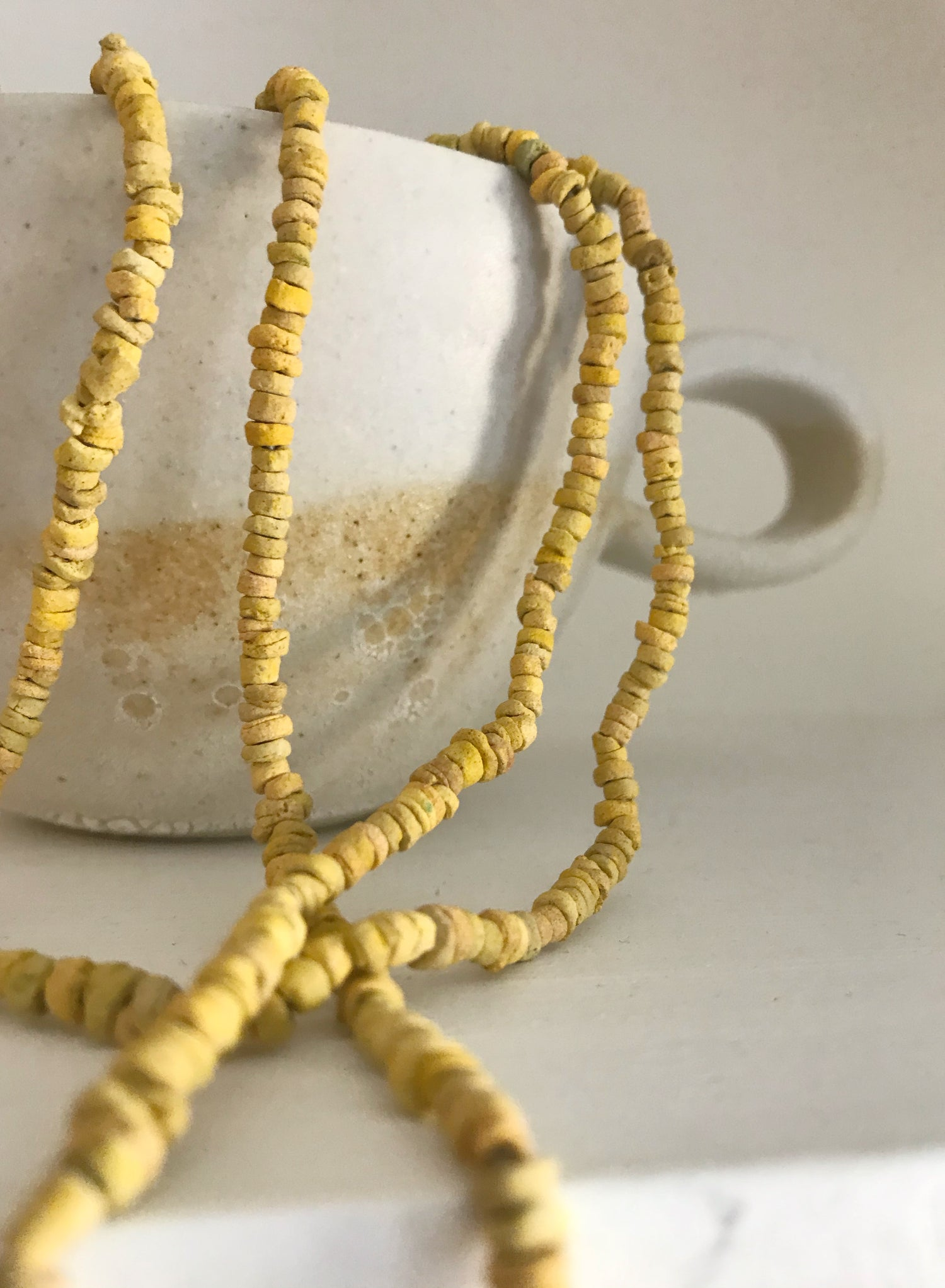 Image of Long Clay Beaded Necklace - Yellow