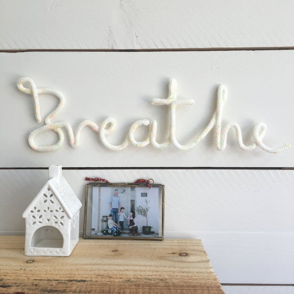 Image of Breathe Knitted Wire Word