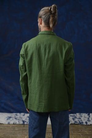 Image of VINCENT LINEN JACKET GREEN £299.00