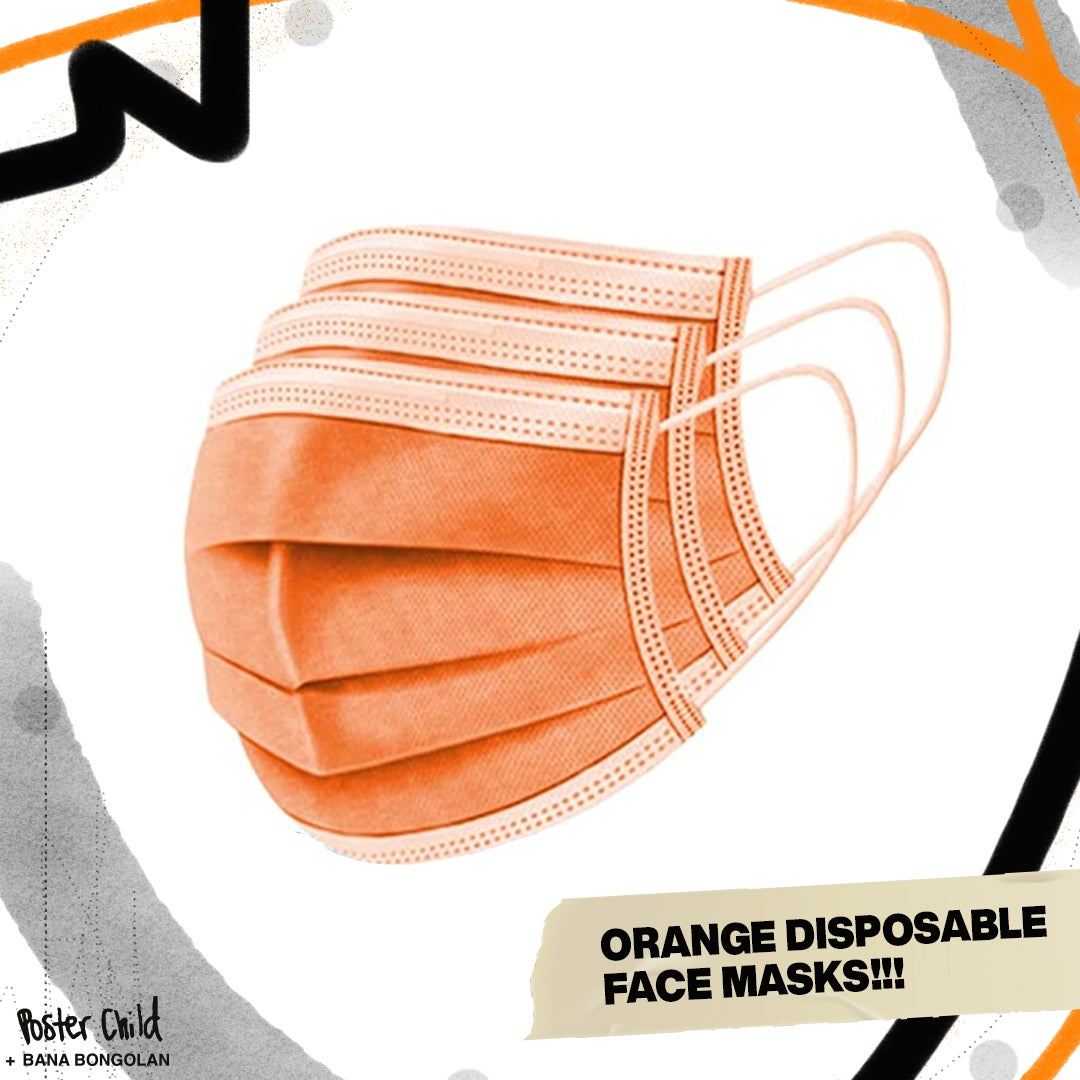 URGENT ORANGE DISPOSABLE MASKS