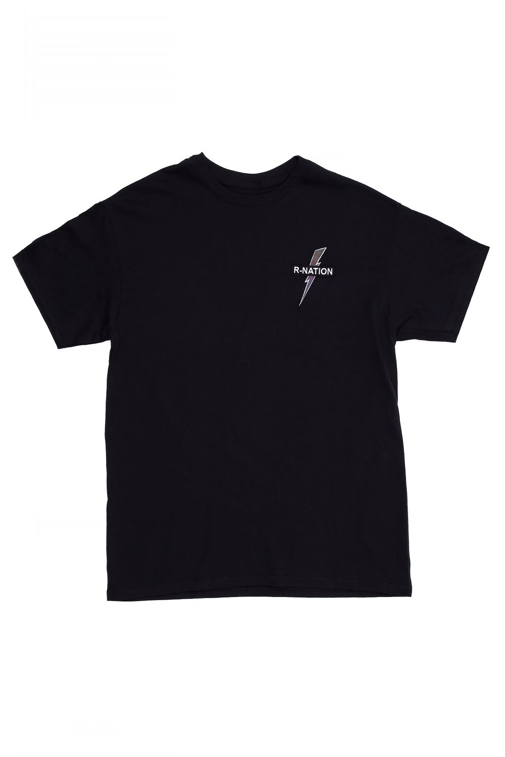 Image of R-NATION BLACK TEE RAINBOW LOGO