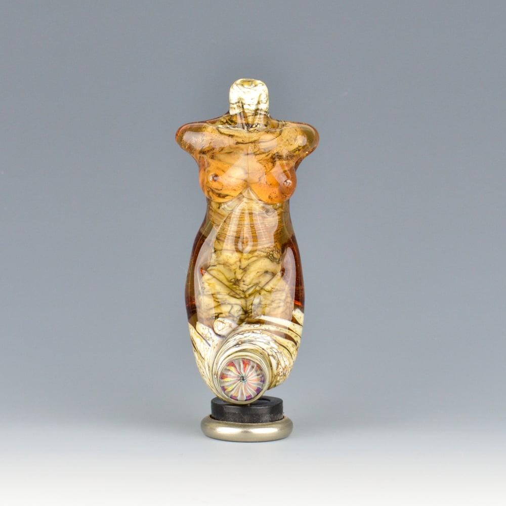 Image of XXL. Amber Rose Goddess - Flamework Glass Sculpture Bead