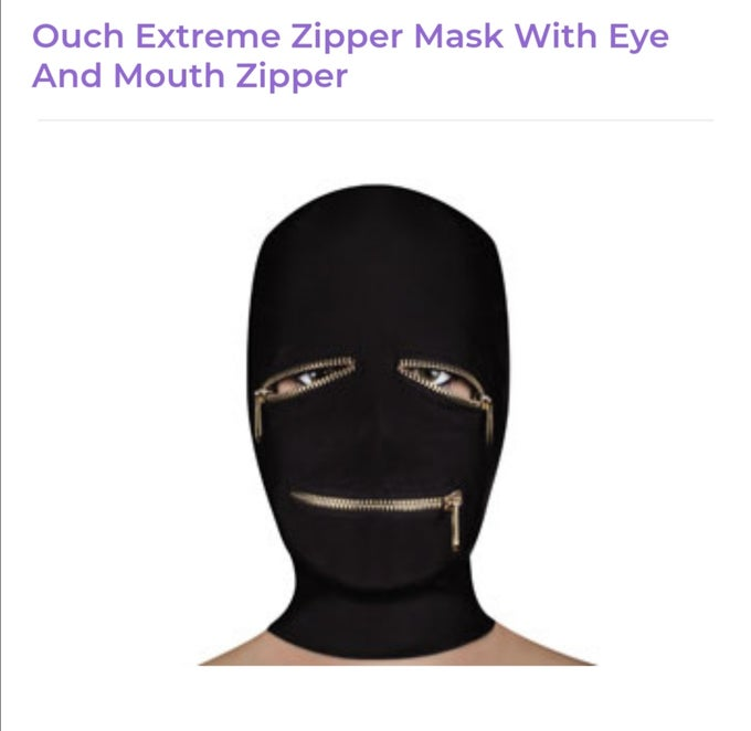 Image of Ouch Zipper Eye and Mouth Mask