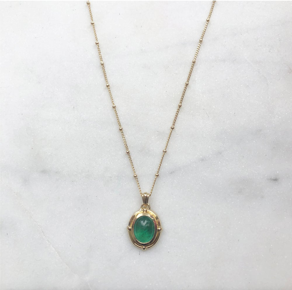 Image of Victorian oval emerald pendant necklace