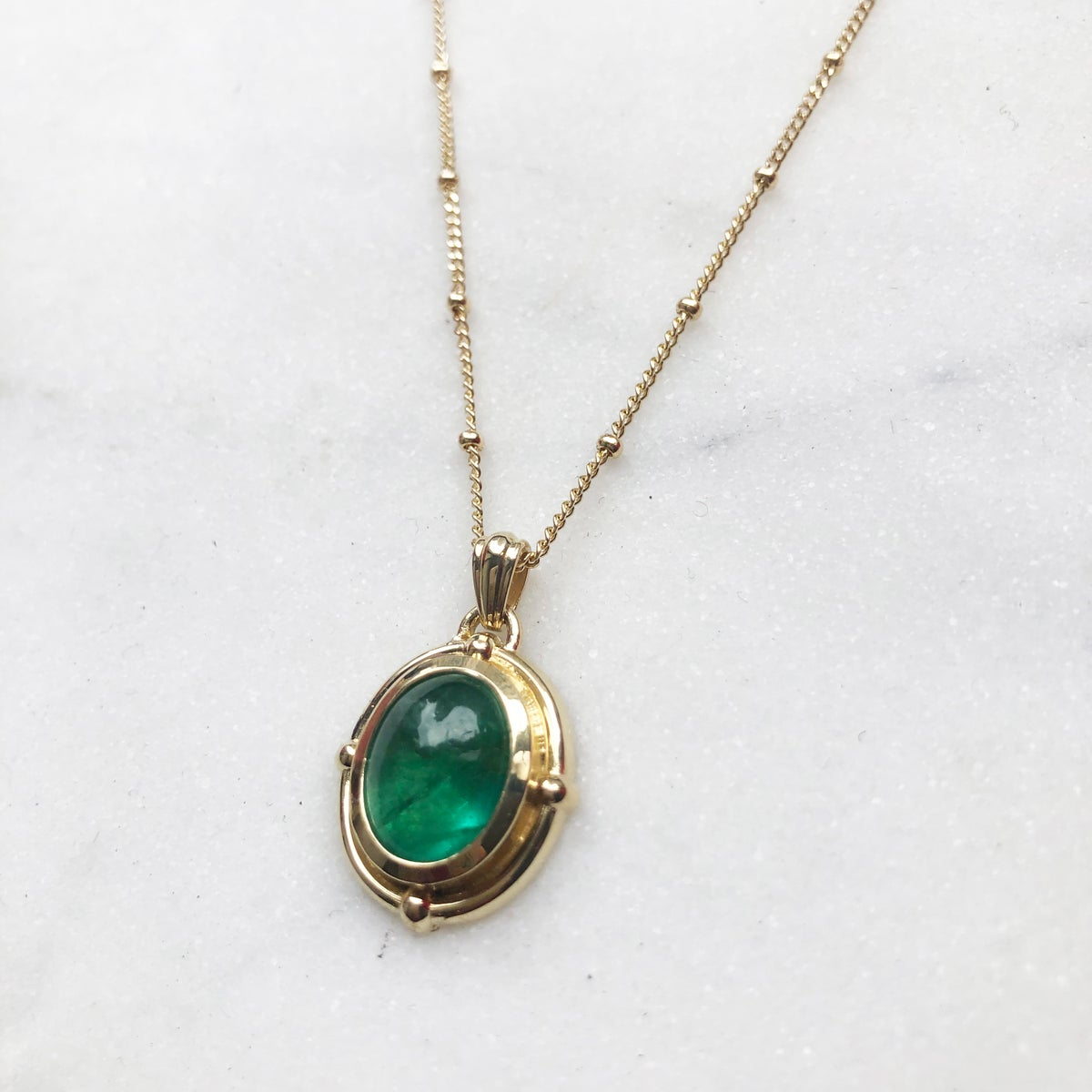 Image of Victorian oval emerald pencant necklace