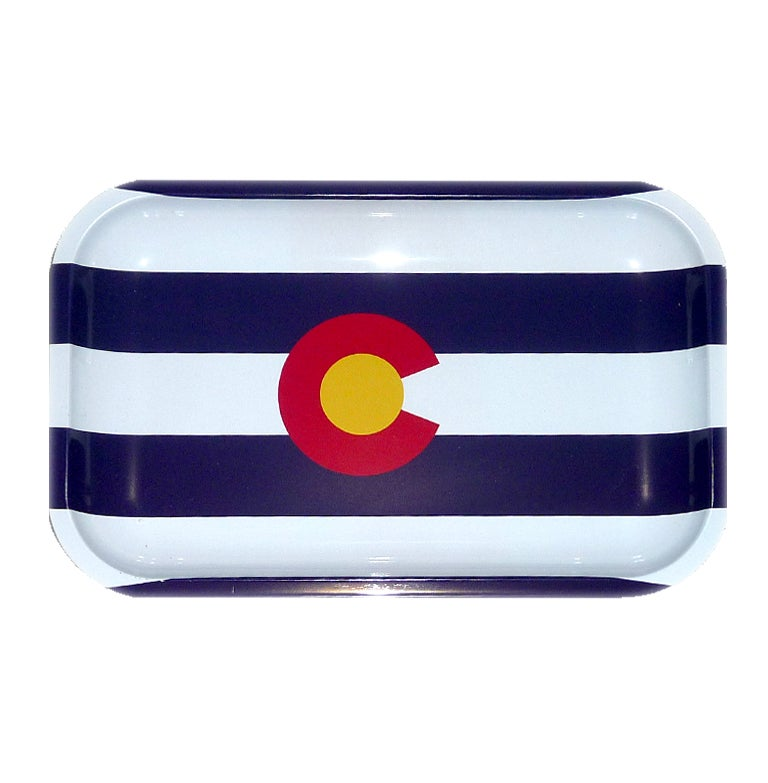 "Image of NEW Colorado flag metal rolling tray 5""x7"" 420"