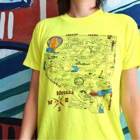 Image of Vintage 1984 Social Clubs of Nevada Brothel Map T-Shirt Sz.M