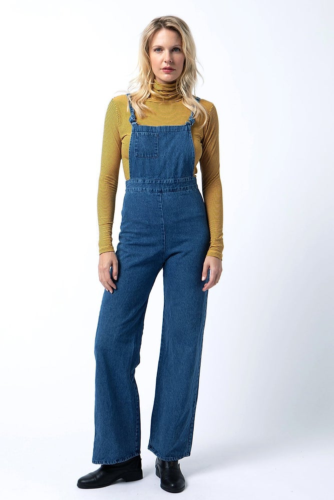 Image of High Waisted Denim Overalls