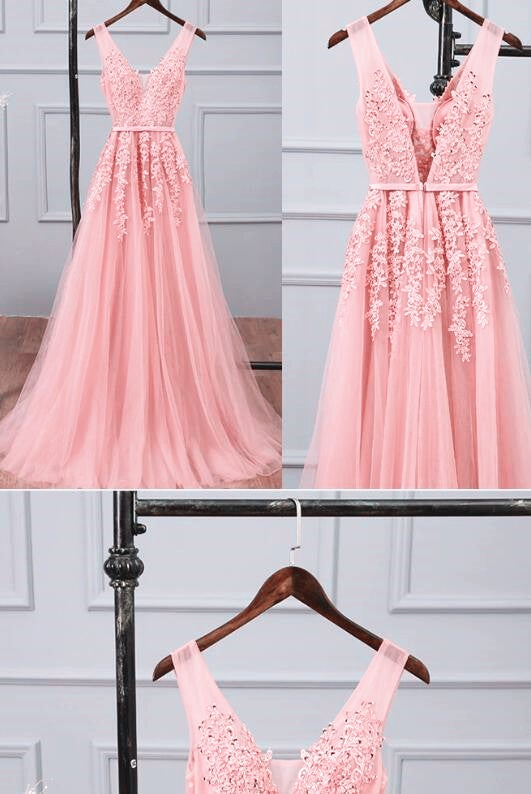 Lovely Tulle with Lace Pink Floor Length Party Dress, Long Pink Prom Dress