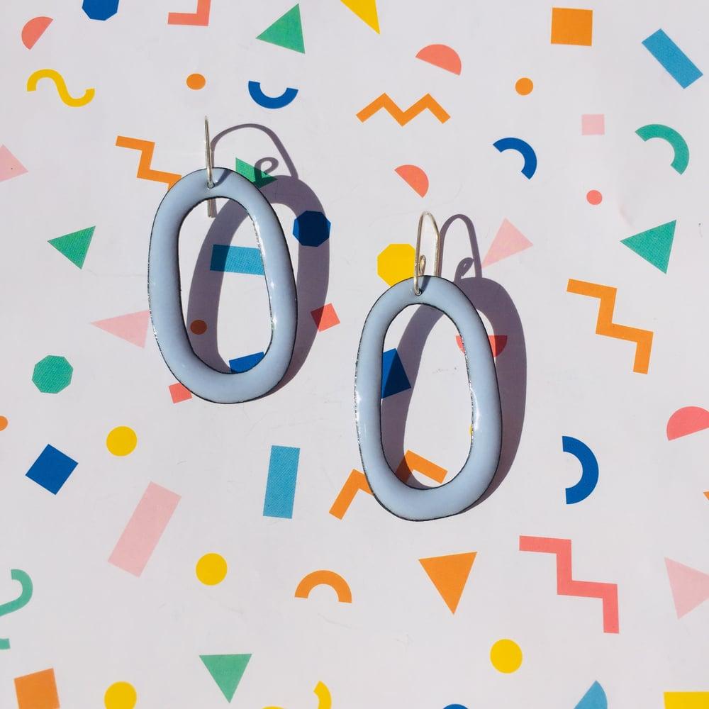 Image of Enameled hoop earrings - Winter blue